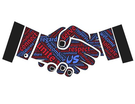 Hands shaking illustration of unity